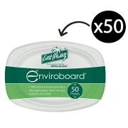 Castaway Enviroboard Oval Plate Small 233X165X25mm White Pack 50