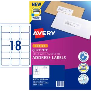Avery Address Labels with Quick Peel for Inkjet Printers - 63.5 x 46.6mm - 450 Labels (J8161)