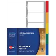 Avery Plastic Dividers - Multi-coloured - Extra Wide - 1-5 Tabs