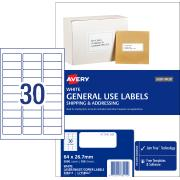 Avery General Use Labels - 64 x 26.7mm - 3000 Labels (L7158GU)
