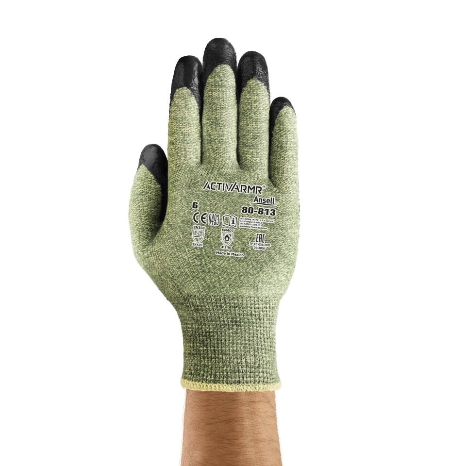 Ansell 80-813 Gloves Powerflex Latex Palm Coat Extended Cuff Kevlar Liner Cut Level 5 Pair