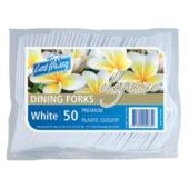 Castaway Elegance Plastic Dining Forks White Pack 50