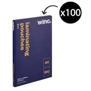 Winc A4 80 Micron Gloss Laminating Pouches 100 Pack