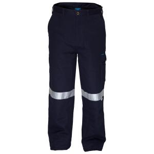 Prime Mover CH701K 100% Cotton Drill Fire Retardant Cargo Pant With 3M Reflective Tape Navy