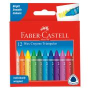 Faber Castell 21-120093 Triangular Coloured Crayon Pack 12