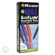 Micador Ecoflow Ballpoint Pen Medium 1.0mm Blue Box 10