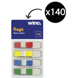 Winc Flags Mini 12 x 43mm Assorted Colours Pack 140