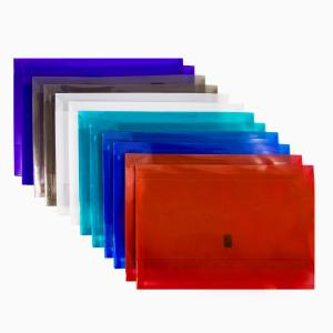 Winc Vivid Document Wallet Polypropylene Foolscap Translucent Hook Loop Assorted Pack of 12