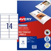 Avery Matte Photo Quality Labels for Laser Printers - 99.1 x 38.1mm - 280 Labels (L7163CL)