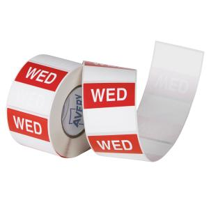 Avery Food Rotation Wednesday Day Label Removable Adhesive Red 40mm Square Roll 500