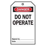 Brady 76224 Lock Out Tags Rev Side 4 B-851 Do Not Operate White/Black Pk25