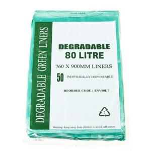 Austar Bin Liners Heavy Duty Degradable 80 Litre Green Packet Carton 250