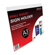 Deflecto Sign Menu Holder Landscape Wall Mount A3 Clear