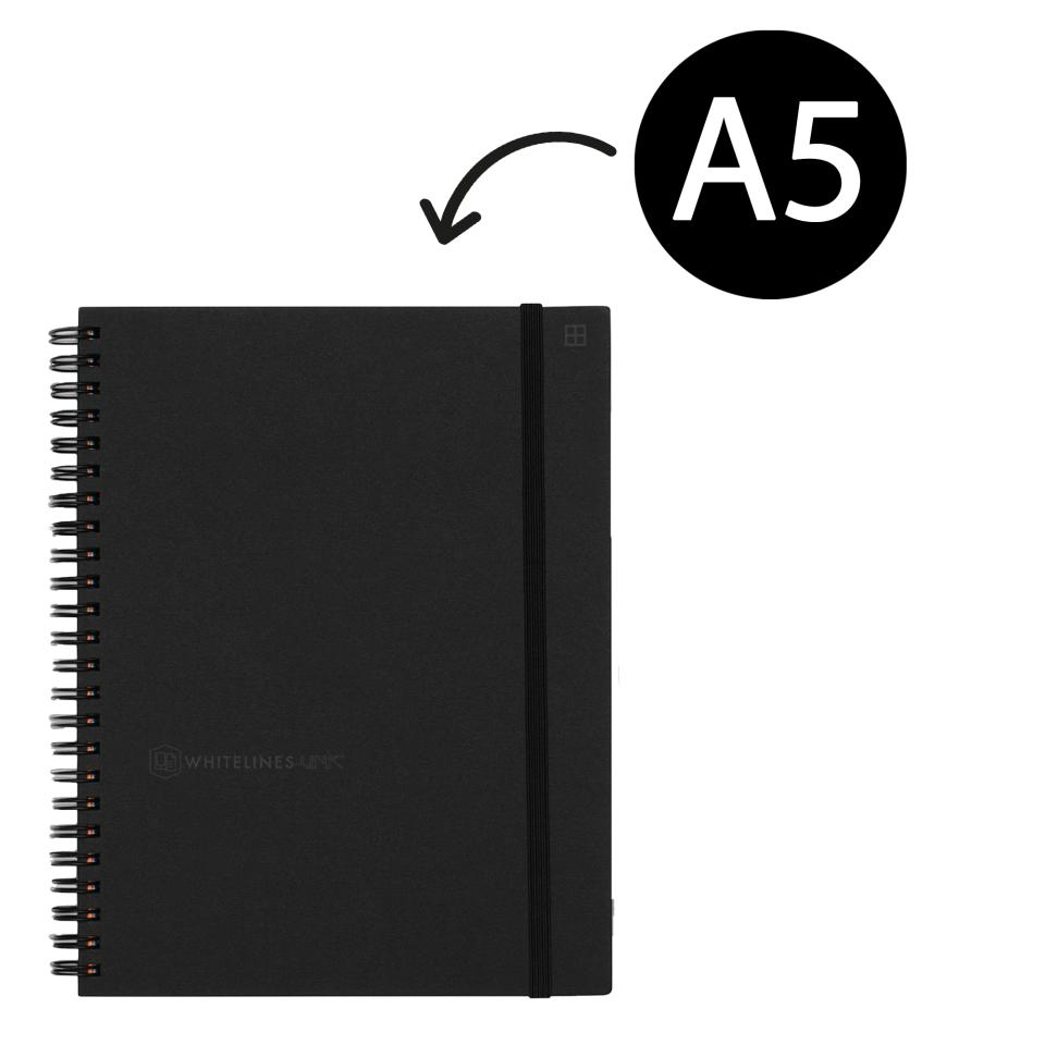 Whitelines Hard Cover Lined Notebook A5 Wire 160 Pages Black