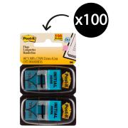 Post-It Flags 25.4 x 43.2mm 'Initial Here' Blue Pack 2