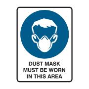Brady Dust Mask Must Be Worn In This Area H250mm X W180mm  Black/blue/white Each