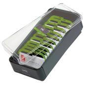 Marbig Business Card Indexed File Box 600 Card Capacity Grey & Lime