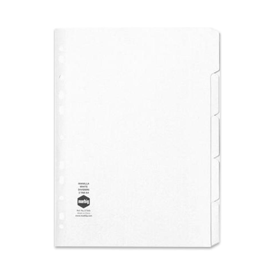 Marbig Dividers Manilla A4 White 5 Tab