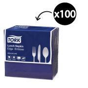 Tork Lunch Napkin Edge Emboss 2 Ply Quarterfold 310X310mm Dark Blue Pack 100
