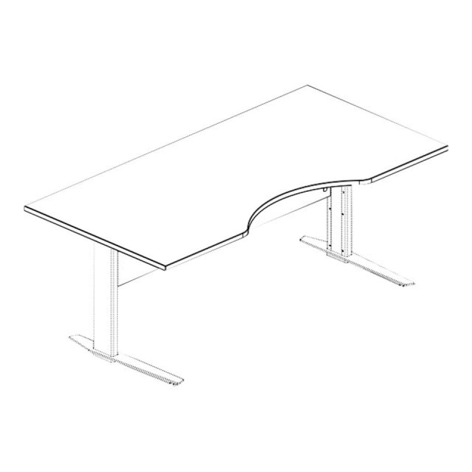 Prima Cut Out 1800mm Desk Top With Modesty Panel White