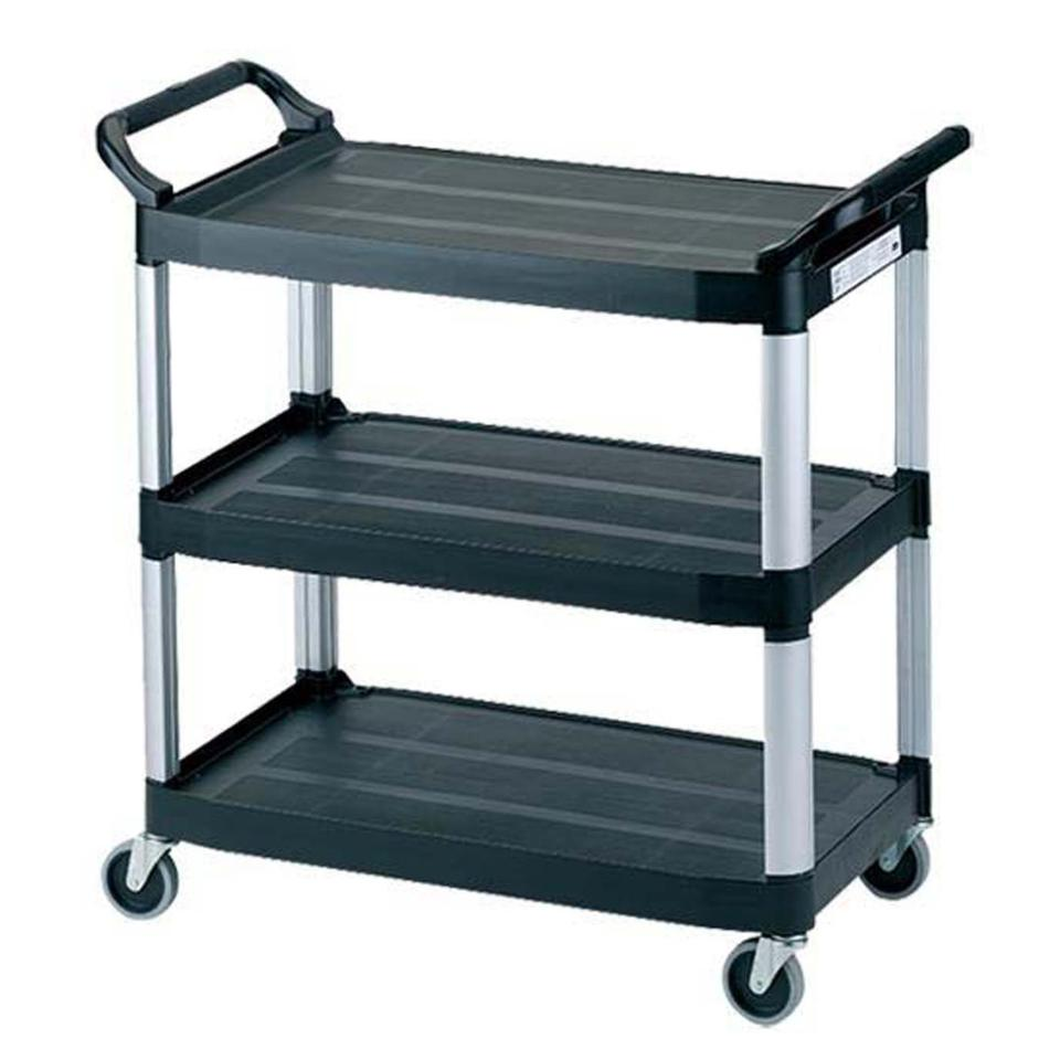 Rubbermaid Commercial Xtra Utility Cart 3 Shelf Open Sided Black