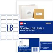 Avery General Use Labels - 63.5 x 46.6mm - 1800 Labels (L7161GU)