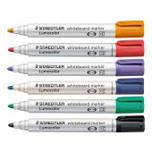 Staedtler 351 Lumocolor Whiteboard Marker Bullet 2.0mm Assorted Colours Set 6