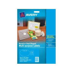 Avery 959165 Clear Oval Laser Labels Multi Purpose 18mm Pack 10