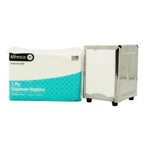 Alfresco Dispenser Napkin 1 Ply 210x200mm White Carton 5000