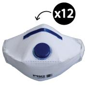 Prochoice Pc2122 Disposable Respirator P2 Valved Horizontal Flat Fold Box 12