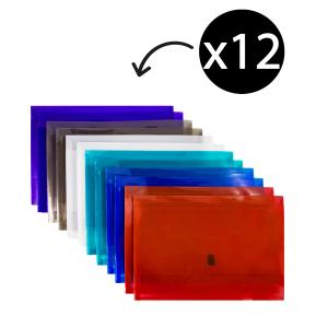 Winc Vivid Translucent A4 Document Wallet with Binder Strip Assorted Pack of 12
