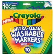 Crayola Ultra Clean Classic Washable Broadline Coloured Markers Assorted Pack 10