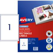 Avery Glossy Photo Quality Labels for Laser Printers - 199.6 x 289.1mm - 25 Labels (L7767)