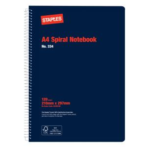 Staples Spiral Notebook A4 No.334 Side Opening 120 Page