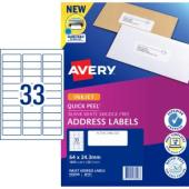 Avery Address Labels with Quick Peel for Inkjet Printers - 64 x 24.3mm - 1650 Labels (J8157)