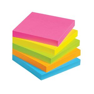 Nallawilli Office Wares Sticky Notes Neon 76x76mm 100 Sheet Pad 5 Pack
