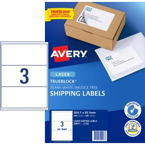 Avery 959013 L7155-100 Laser Labels 200.1 x 93.1mm Sheets 3