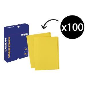 Winc Manilla Folder A4 Yellow Box 100
