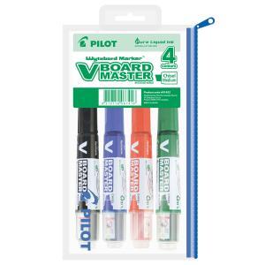 Pilot V Board Whiteboard Marker Chisel Asst 4 Pack