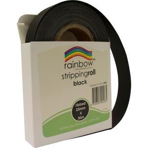 Rainbow Stripping Streamer Roll 25mmx30mm Black