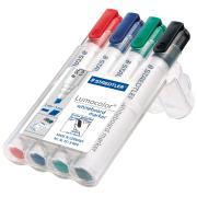 Staedtler Lumocolor Whiteboard Marker Chisel Tip Assorted Colours Wallet 4