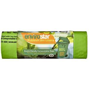 Envirostar 80 Litre EHD Green Compostable Bin Liner 43um Printed Roll 10 Carton 10