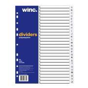 Winc Polypropylene Dividers Set A4 White 26 Tabs A-Z