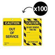 Brady 842372 Lockout Tags Caution Out Of Service Yellow/Black Pack 100