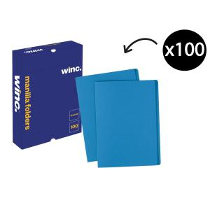 Winc Manilla Folder Foolscap Blue Box 100