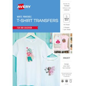 avery white coloured t shirt transfer for inkjet printers 210 x