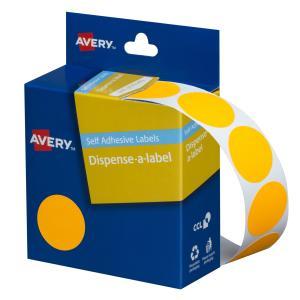 Avery Fluoro Orange Circle Dispenser Labels - 24 mm diameter - 350 Labels