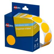 Avery Fluoro Orange Circle Dispenser Labels - 24mm diameter - 350 Labels