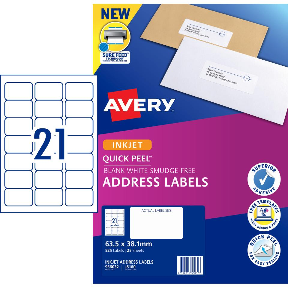 Avery Address Labels with Quick Peel for Inkjet Printers - 63.5 x 38.1mm - 525 Labels (J8160)