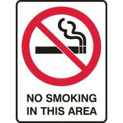 Brady 841090 Sign No Smoking In This Area Metal 225X300mm Each
